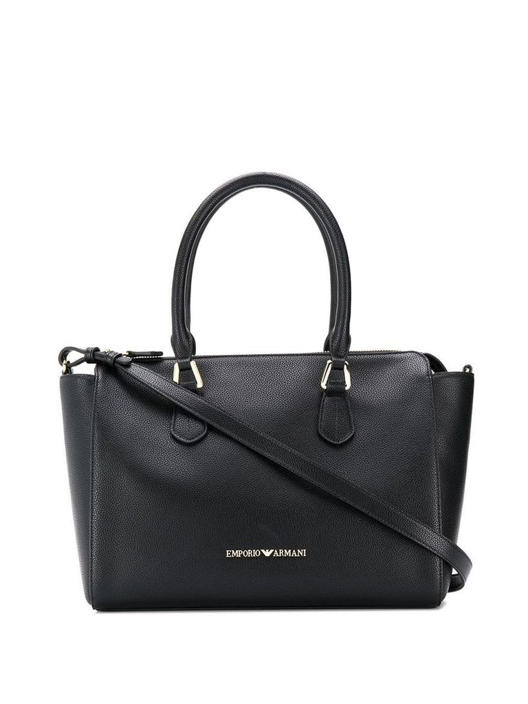 Emporio Armani logo top-handle tote - Black