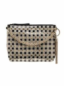 Jimmy Choo gold Callie sequin-embellished checked clutch bag -