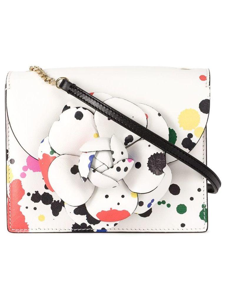 Oscar de la Renta flower embellished paint spatter bag - White