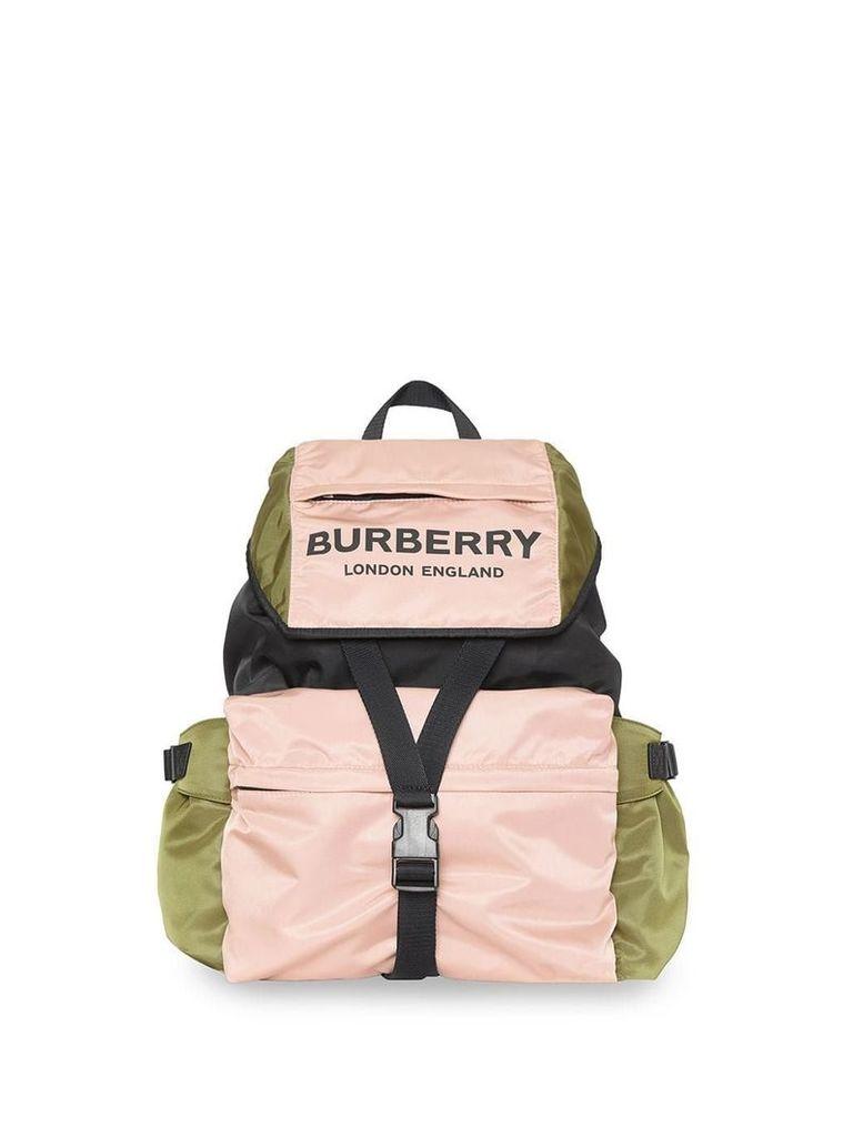Burberry Logo Print Tri-Tone Nylon Backpack - Pink