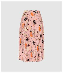 Reiss Andi - Floral Pleated Midi Skirt in Pink, Womens, Size 14