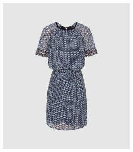 Reiss Heidi - Diamond Printed Day Dress in Multi, Womens, Size 16