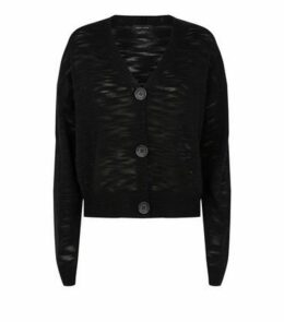 Black Fine Knit Button Front Cardigan New Look