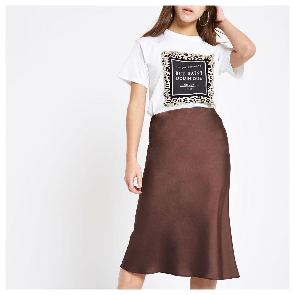 Womens Petite dark Brown bias cut midi skirt