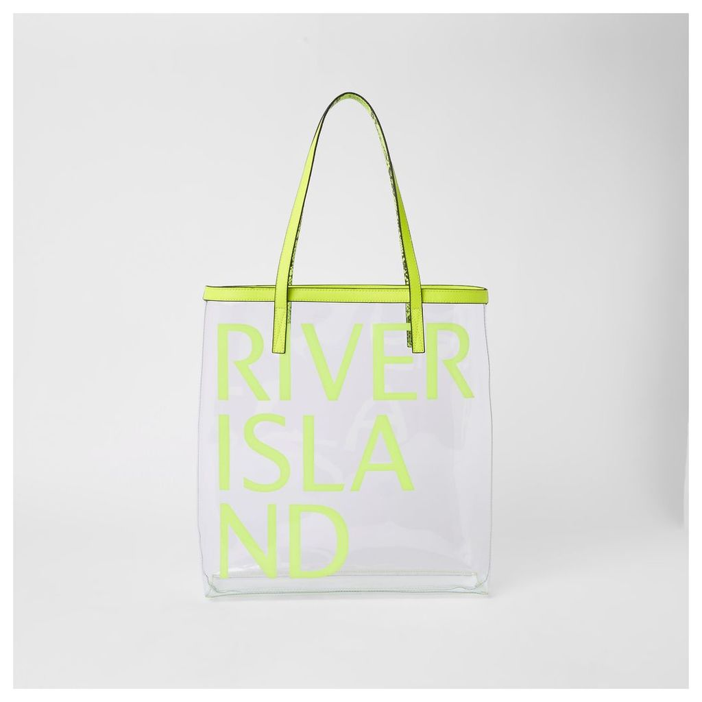 Womens Neon green perspex RI beach bag