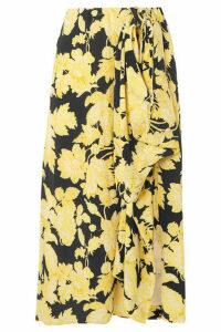 Stine Goya - Lilly Draped Floral-print Silk-crepe Midi Skirt - Pastel yellow