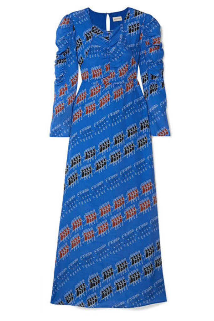 By Malene Birger - Printed Crepe De Chine Maxi Dress - Royal blue