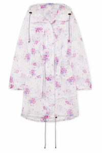 Dries Van Noten - Hooded Floral-print Crinkled-organza Coat - Lilac