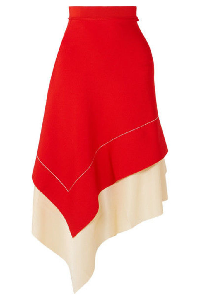 Victoria Beckham - Two-tone Asymmetric Stretch-knit Midi Skirt - Red