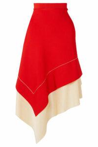 Victoria Beckham - Two-tone Asymmetric Stretch-knit Midi Skirt - Red