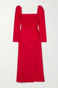 Tibi - Leather Midi Skirt - Black