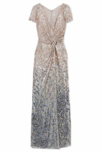 Jenny Packham - Blondell Wrap-effect Ombré Sequined Tulle Gown - White