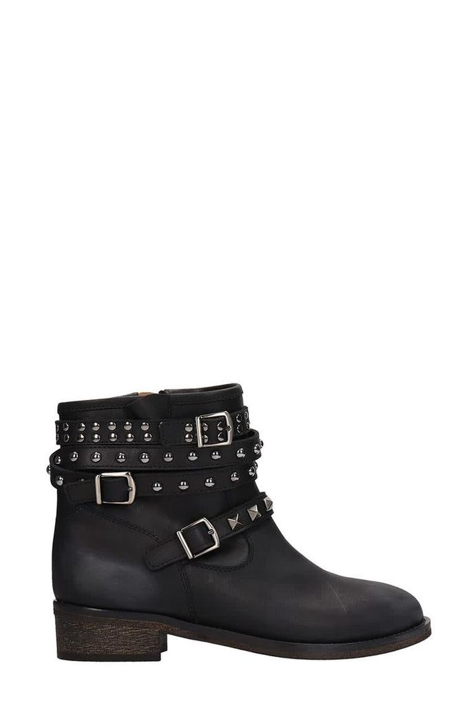 Via Roma 15 Black Leather Combact Boots