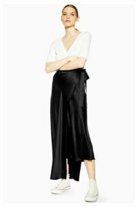 Womens **Double Layer Silk Skirt By Boutique - Black, Black