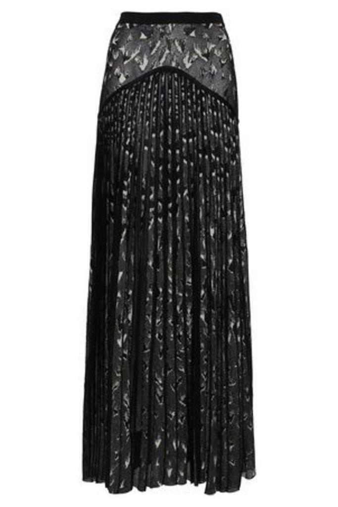 Roberto Cavalli Woman Pleated Metallic Jacquard-knit Maxi Skirt Black Size 44