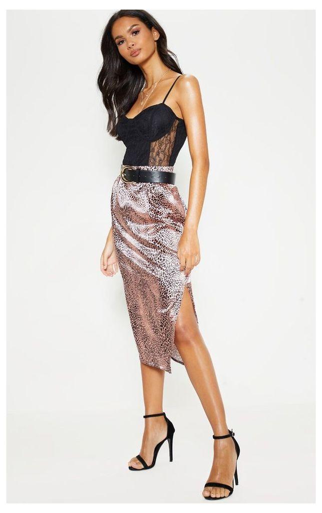 Pink Leopard Print Satin Midi Skirt, Pink