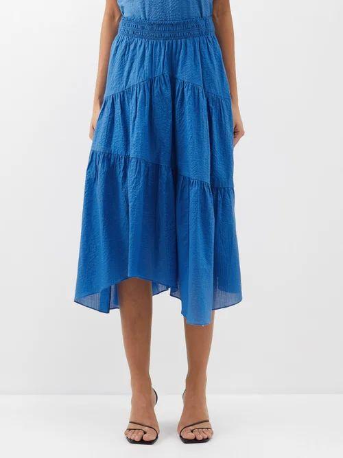 La Doublej - Circle Abstract Print Cotton Blend Midi Skirt - Womens - Black White