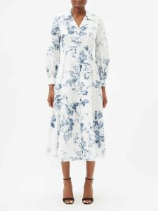 La Doublej - Circle Abstract Print Cotton Blend Midi Skirt - Womens - Black White