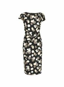 Womens **Lily & Franc Monochrome Smudge Spot Print Bodycon Dress- Black, Black