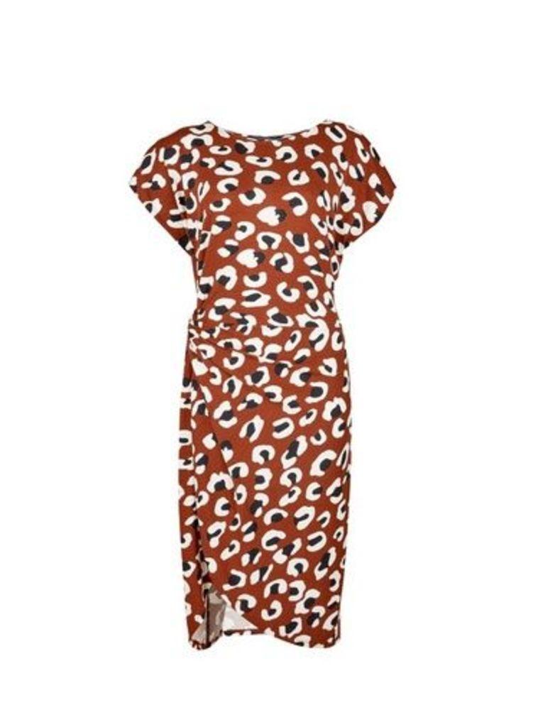 Womens Brown Animal Print Manipulated Short Sleeve Shift Dress- Brown, Brown