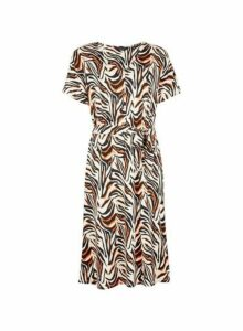 Womens Multi Colour Zebra Print Button Front Midi Skater Dress- Brown, Brown