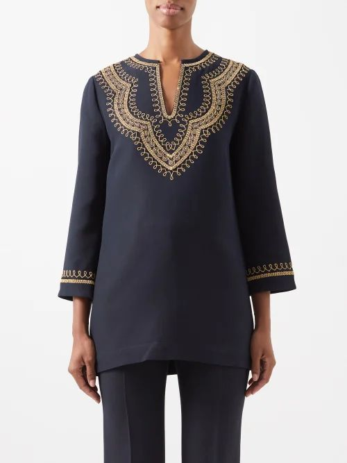 Roksanda - Daksa Sequinned Linen Trench Coat - Womens - Grey Multi