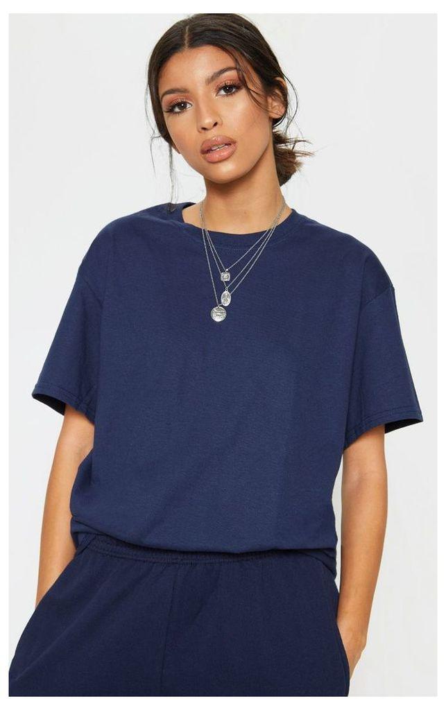 Navy Oversized Boyfriend T Shirt, Blue