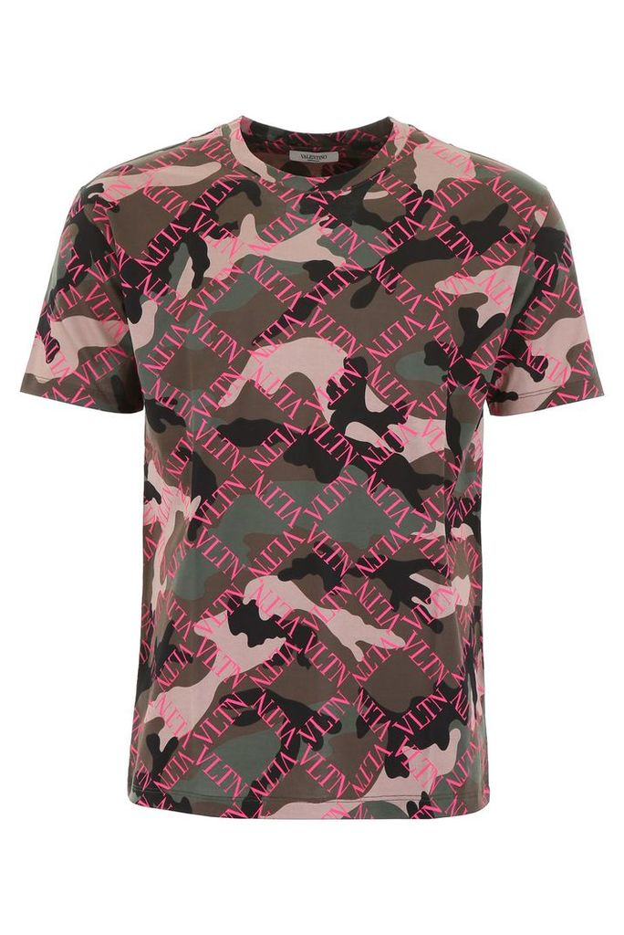 Valentino Camouflage T-shirt With Logo