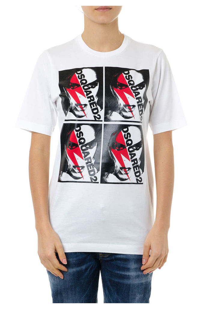 Dsquared2 Printed T Shirt In White Cotton
