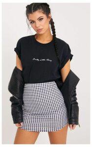 Malena Black Gingham Curve Hem Mini Skirt, Black Gingham
