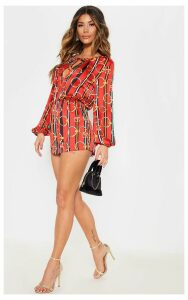 Red Chain Print Tie Neck Playsuit, Red