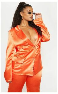 Plus Orange Satin Blazer, Orange