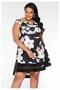 Womens Quiz Curve Floral Bardot Dip Hem Dress -  Black