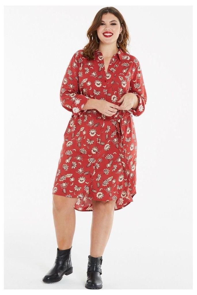 Womens Simply Be Midi Shirt Dress -  Red