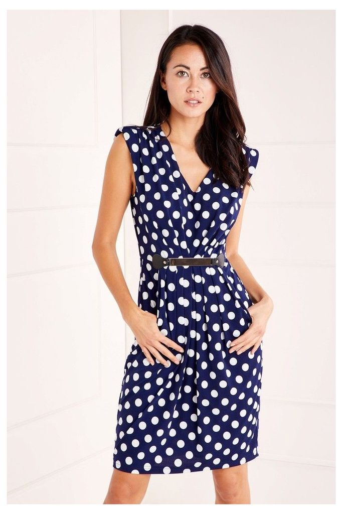 Womens Mela London Polka Dot Belt Dress -  Blue