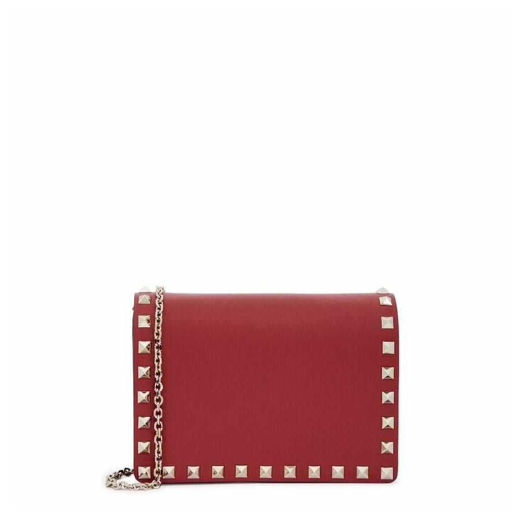 Valentino Garavani Rockstud Red Leather Clutch