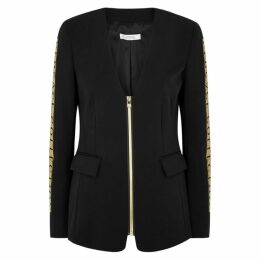 Versace Black Logo-print Blazer