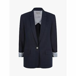 Jaeger Single Breasted Linen Blazer, Dark Blue