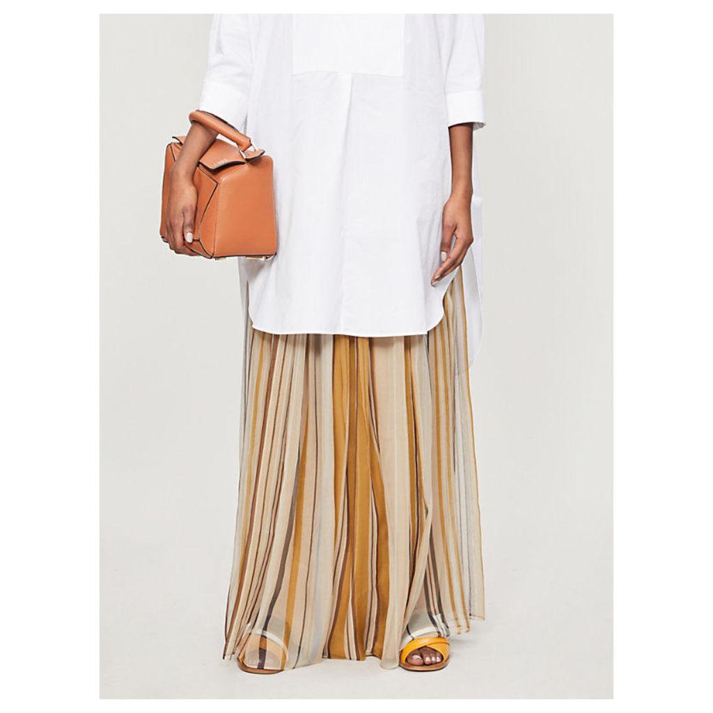 Striped silk maxi skirt
