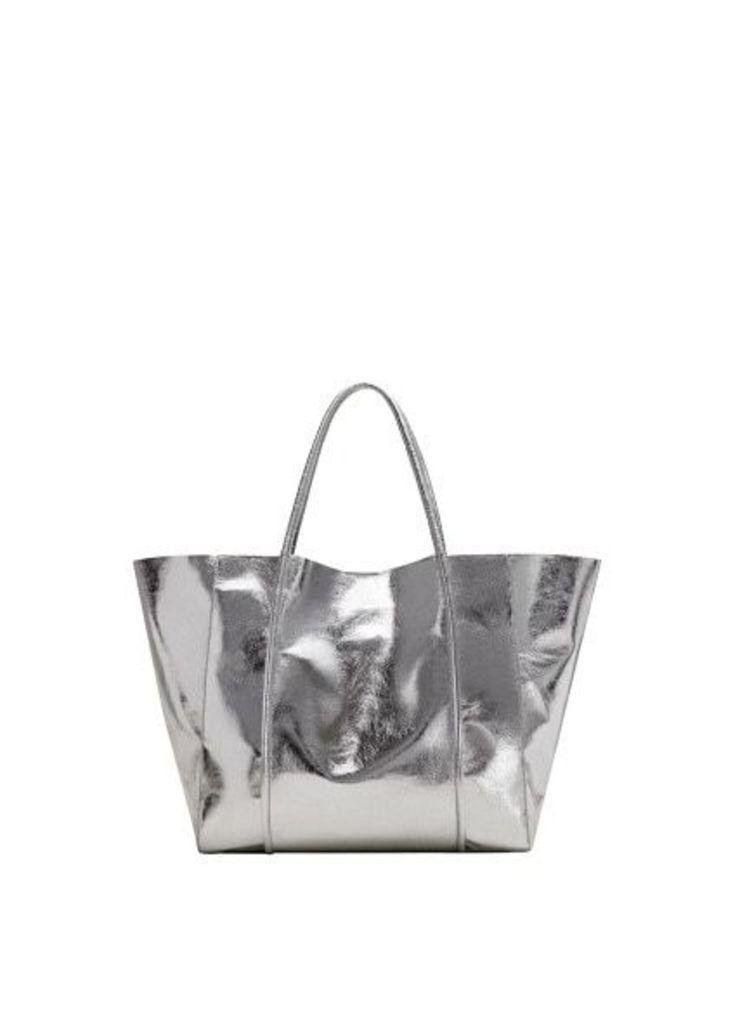 Metallic-effect shopper bag