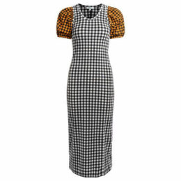 Kenzo  long black checked dress  women's Long Dress in White