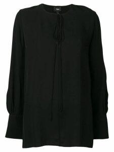 Theory keyhole long-sleeve blouse - Black