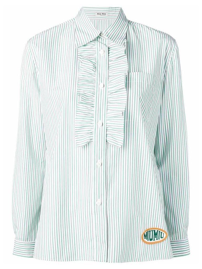 Miu Miu striped ruffled-bib shirt - Green