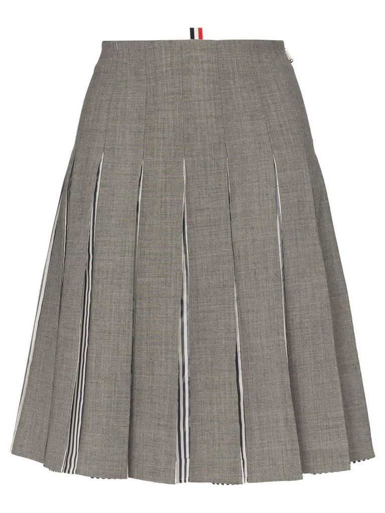 Thom Browne High-waisted pleated wool skirt - Grey
