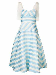 Delpozo striped A-line dress - Blue