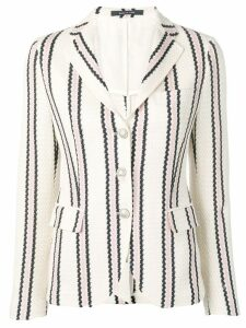Tagliatore stripe print single-breasted blazer - White