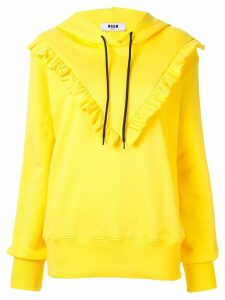 MSGM ruffle detail hoodie - Yellow
