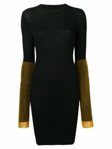 Maison Margiela contrast sleeve rib knit mini dress - Black