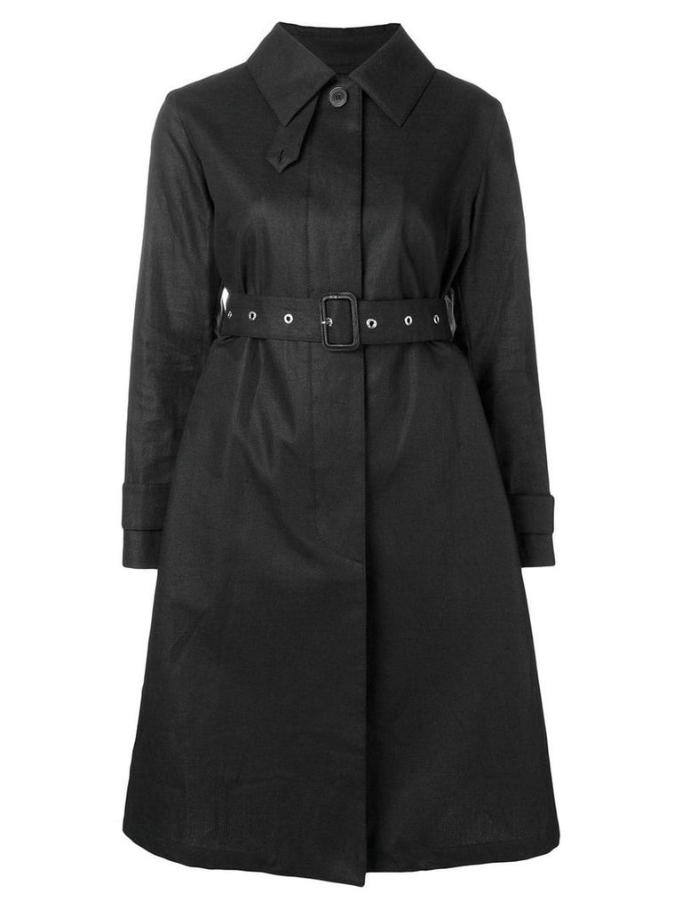 Mackintosh Black Storm System Linen Single-Breasted Trench Coat