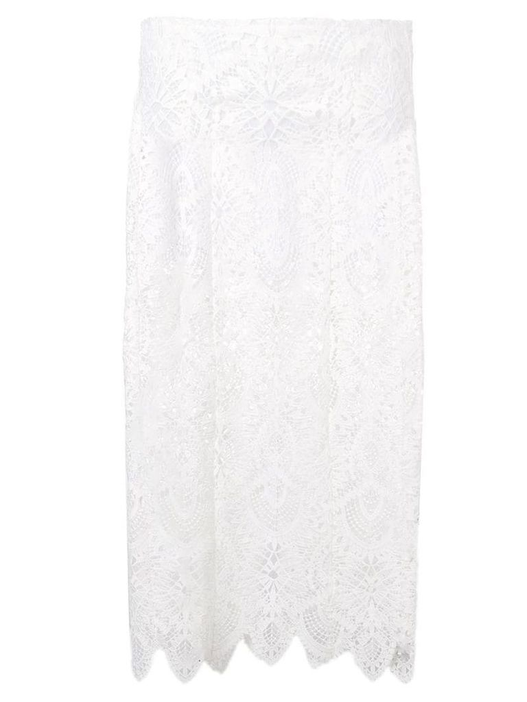 Dondup lace pencil skirt - White
